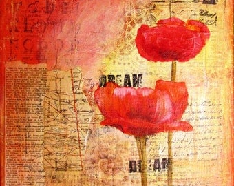 """Dream II - a mixed media collage on 8"""" x '8"""" canvas."""