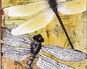 Dragonflies - a collaged / mixed media ACEO