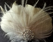 Ivory Feather Fascinator, Rhinestone, Bridal Wedding, Special Occasion, Ship Ready