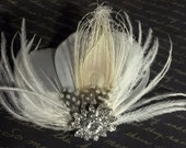 Bridal Fascinator, Ivory Vintage Style Bridal Fascinator, Bridal Hair Clip, Feather Fascinator - SHIP READY