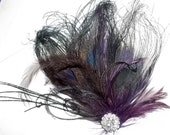 Bridal Fascinator -Black Peacock Feathers with Purple accent Feathers, Rhinestones - Ship ready