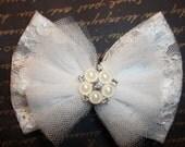 Flower Girl Bridal Bow First Communion  - Bridal Wedding  - Lace Bow -  Rhinestones
