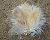 Wedding Hair Accessory, Bridal Fascinator, Feather Hair Clip, Wedding Hair Comb, Bridal Hair Accessories, Ivory Bridal Hair Clip, Weddings