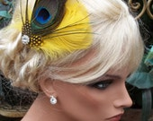 Fascinator Bright Yellow and Peacock Feather Bridal Wedding Hair Clip Fascinator, yellow, green, turquoise, blue