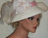 Off White Diamond White Bridal Hat, Light Pink Satin Flowers, Ostrich Plumes, Swarovski Crystals, Pink Pearls