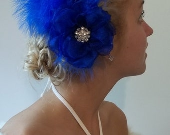 Royal Blue Feather Fascinator,  1920's , great Gatsby style  Bridal Wedding hair clip, Special Occasion Hair Clip, party hair, glitz