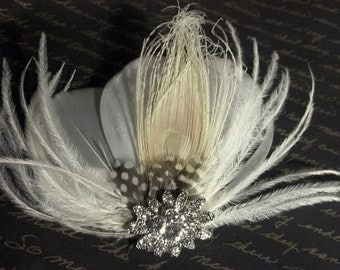 Bridal Fascinator, Ivory Vintage Style Bridal Fascinator, Bridal Hair Clip, Feather Fascinator - SHIP READY