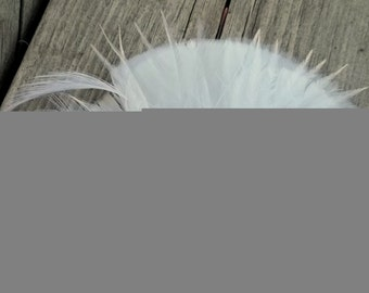White Feather Fascinator, French Netting,Rhinestone, Bridal Wedding, Special Occasion, Ship Ready