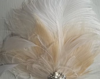 Wedding Bridal Fascinator, Feather Hair Clip, White and Ivory, Bridal Hair Fascinator, Rhinestones Vintage Style, Weddings, Prom, Dance