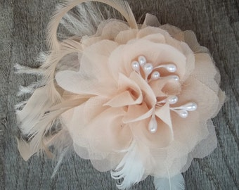 Bridal Fascinator, Chiffon Flower, Wedding Hair Clip, Blush Ivory, Ivory Hair Clip, Wedding Comb, Bridal Comb, Flower Comb, Flower CLip