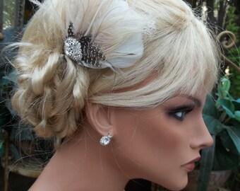 Wedding Bridal Fascinator, Ivory Vintage Style Bridal Fascinator, Bridal Hair Clip, Feather Fascinator, Wedding Hair Accessory Prom Dance