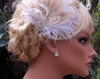 Ivory white champagne bridal hair fascinator  rhinestone jewel  elegant wedding hair clip, feather hair clip -ship ready