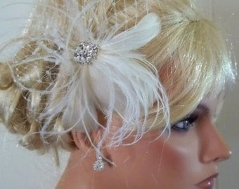 WEDDING BRIDAL FASCINATOR, feathers french net rhinestone jewel - feathered fascinator wedding hair clip, womens