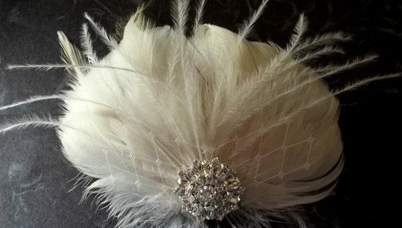 Ivory Feather Fascinator, Rhinestone, Bridal Wedding, Special Occasion, Ship Ready