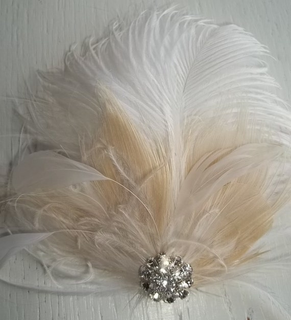 Wedding Bridal Fascinator, Feather Hair Clip, White and Ivory, Bridal Hair Fascinator, Rhinestones Vintage Style, Weddings, Prom, Dance