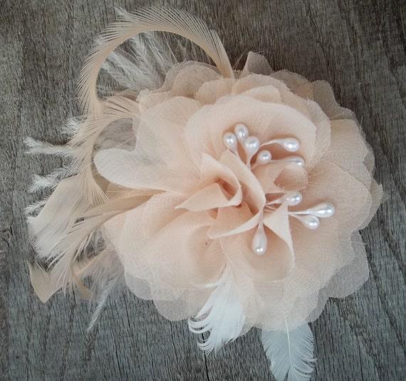 Bridal Fascinator, Chiffon Flower, Wedding Hair Clip, Blush Ivory, Ivory Hair Clip, Wedding Comb, Bridal Comb, Flower Comb, Flower CLip