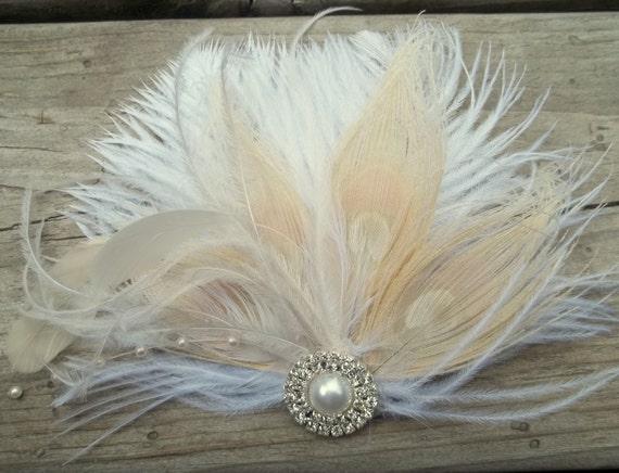 Ivory Peacock Bridal Fascinator, Ivory Wedding Hair Clip, Ivory Feather fascinator, Bridal Hair Comb, Wedding Comb, Ivory Peacock Feathers
