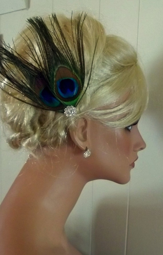 Peacock bridal fascinator hair accessory, wedding feather hair clip, green, turquoise, blue