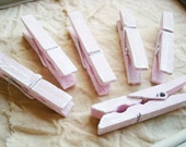 Tea Rose & Tofu (Pink/White) Distressed Mini Clothespins Set of 6 - Shabby Chic Photo Display. Wedding Escort Card.