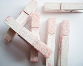 Tofu & Tea Rose (White/Pink) Distressed Mini Clothes Pins with Pink Glitter - Beach Cottage Chic 6 Pack