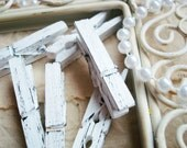 White with Black. Mini Decorative Clothespins. Handpainted. Shabby Chic, Wedding, Family Photo DIsplay.