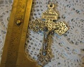 Silver Medal Crucifix Jesus  Nazareth Religious cross pendant for necklace, rosary, chaplet, bracelet, charm for Jewelry