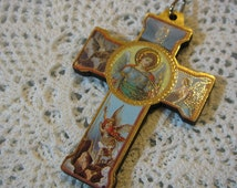 Saint Michael Archangel Medal Religious PROTECTION wood cross crucifix pendant for necklace rosary,bracelet,jewelry