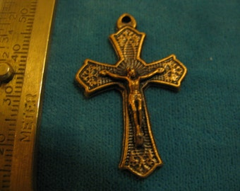 Copper Medal Crucifix  Religious Jewelry pendant charm for rosary, necklace, chaplet, charm bracelet
