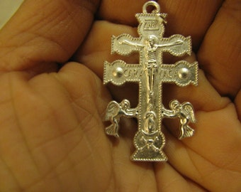 Silver Medal Crucifix of Caravaca with angels Religious Catholic Jewelry pendant for rosary, necklace, chaplet
