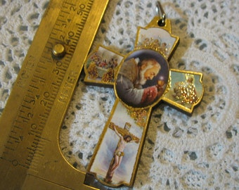 Saint Padre Pio Medal Religious wood cross cruciix pendant for  necklace, rosary, chaplet, bracelet, charm for any jewelry