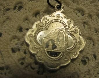 1 Silver Medal of Lourdes Souvenir de Bains Religious  necklace pendant for rosary necklace chaplet charm bracelet