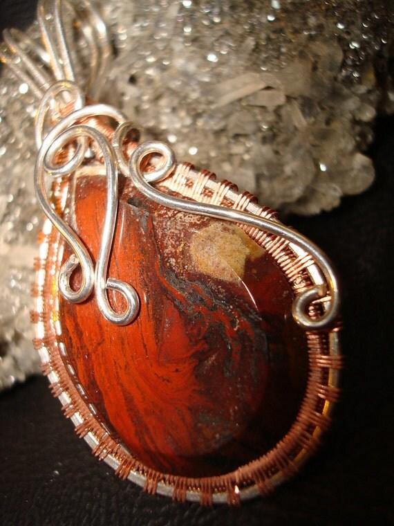 Lake Superior Agate Stromatolite Wire Wrapped Pendant