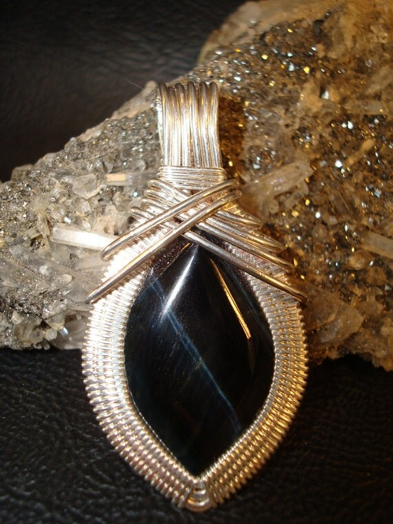 SALE Blue Tiger Eye Silver Wire Wrapped Pendant