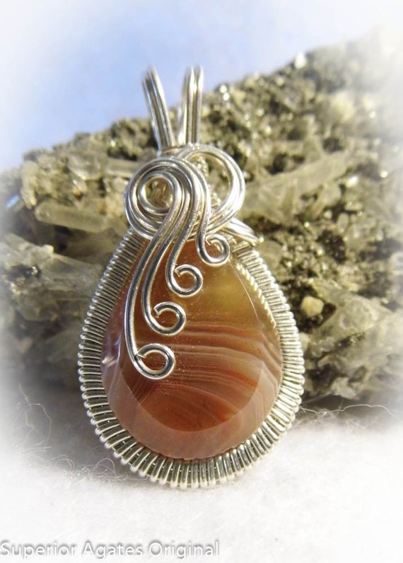 Lake Superior Agate Silver Wire Wrapped Pendant Moose Lake Agate Days
