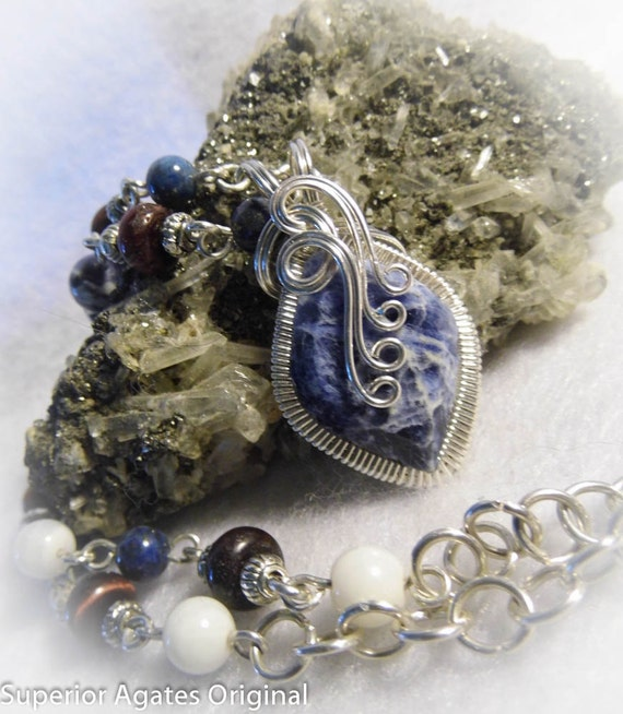 Patriotic Sodalite Wire Wrapped Necklace