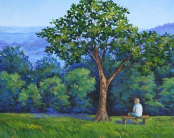 Mountain Landscape Original Painting Mountains from Monticello