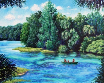 Florida Landscape Painting Canoe on Rainbow River