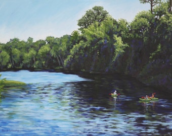 Kayaks on River Original Landscape Painting 24 x 18