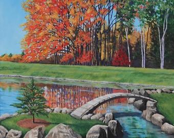 Autumn Landscape Painting - Original- Japanese Garden Lake- Acrylic on Canvas- 30x40