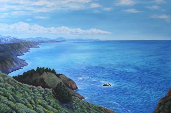 Pacific Ocean Painting Original Acrylic Landscape California Coast