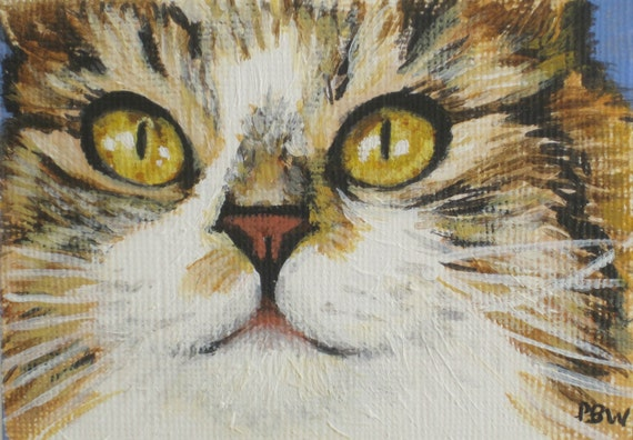 ACEO Cat Painting Original Acrylic Collectible Art