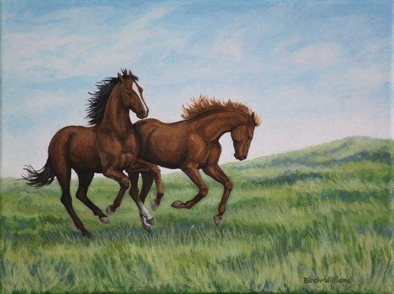 Original Acrylic Painting Galloping Horses