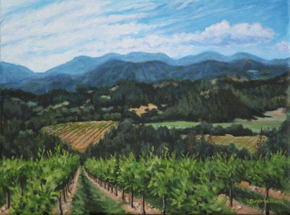 Original Landscape Painting Napa Valley Vineyard