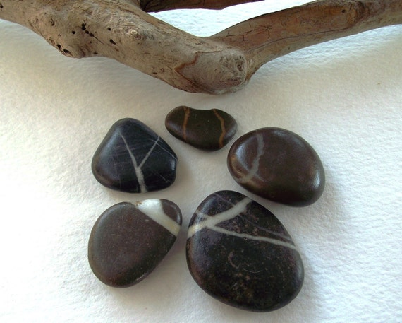 Striped Beach stones Smooth stones .Lovely rocks. 5 Great rocks for your collection by Oceangifts