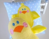 Chick with Ribbons Machine Embroidery Design Applique and In-The-Hoop - Two Sizes