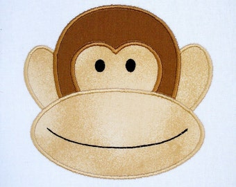 Machine Embroidery Applique Design - Monkey Face Number 2 - Three Sizes - 4x4, 5x7 and 6x10