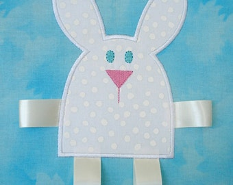 Embroidery Design for Machine Embroidery Applique - Bunny with Ribbon Legs- Two Sizes 4x4 and 5x7
