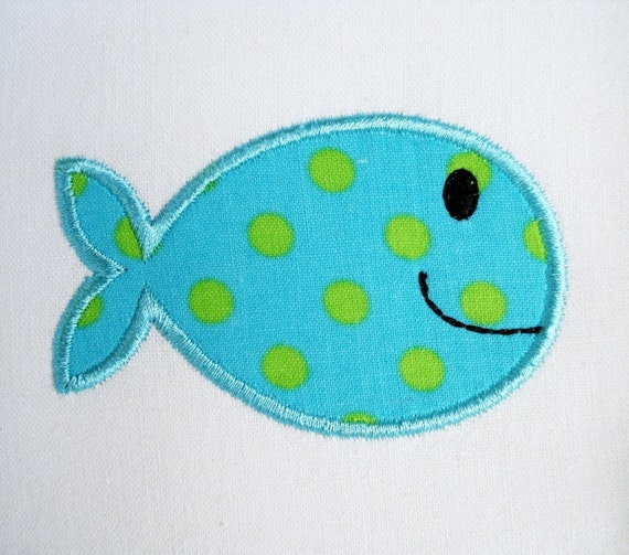fish machine embroidery in the hoop and applique design two