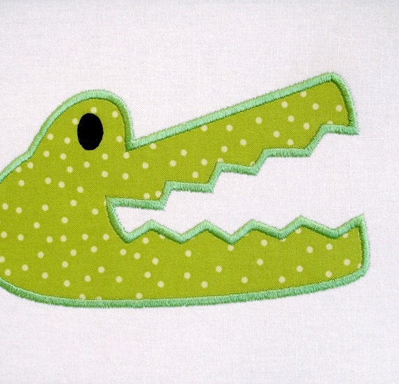Gator Head Applique Machine Embroidery 4x4 and 5x7