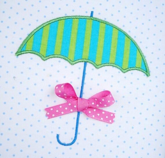 Umbrella machine embroidery design applique two sizes